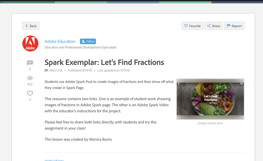 Adobe Spark exemplar screenshot