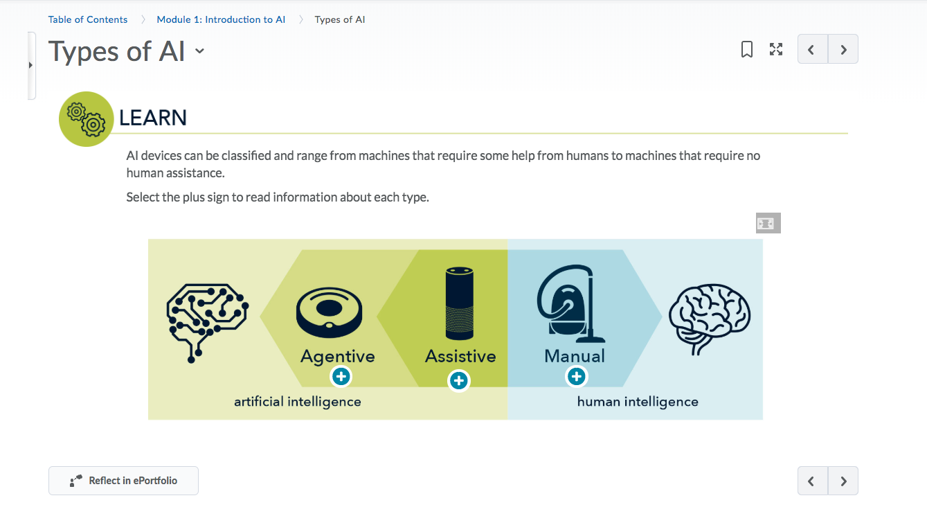 Course screenshot showing types of AI: Agentive, Assistive, and Manual