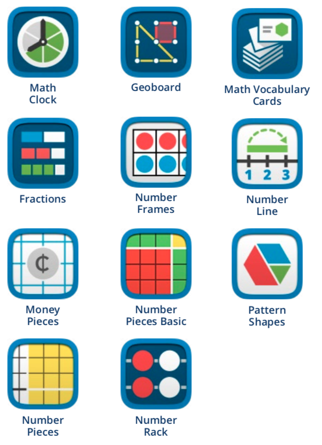 Icons from the library of apps created for MLC