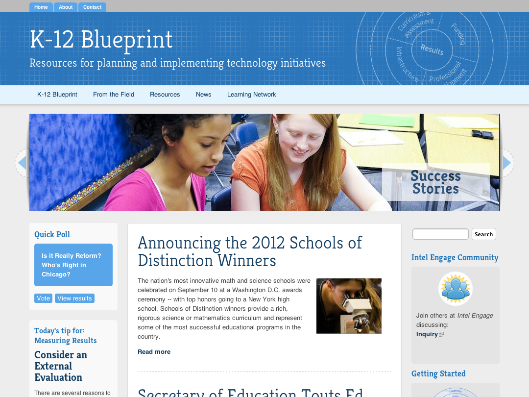 New website design of the K12 Blueprint