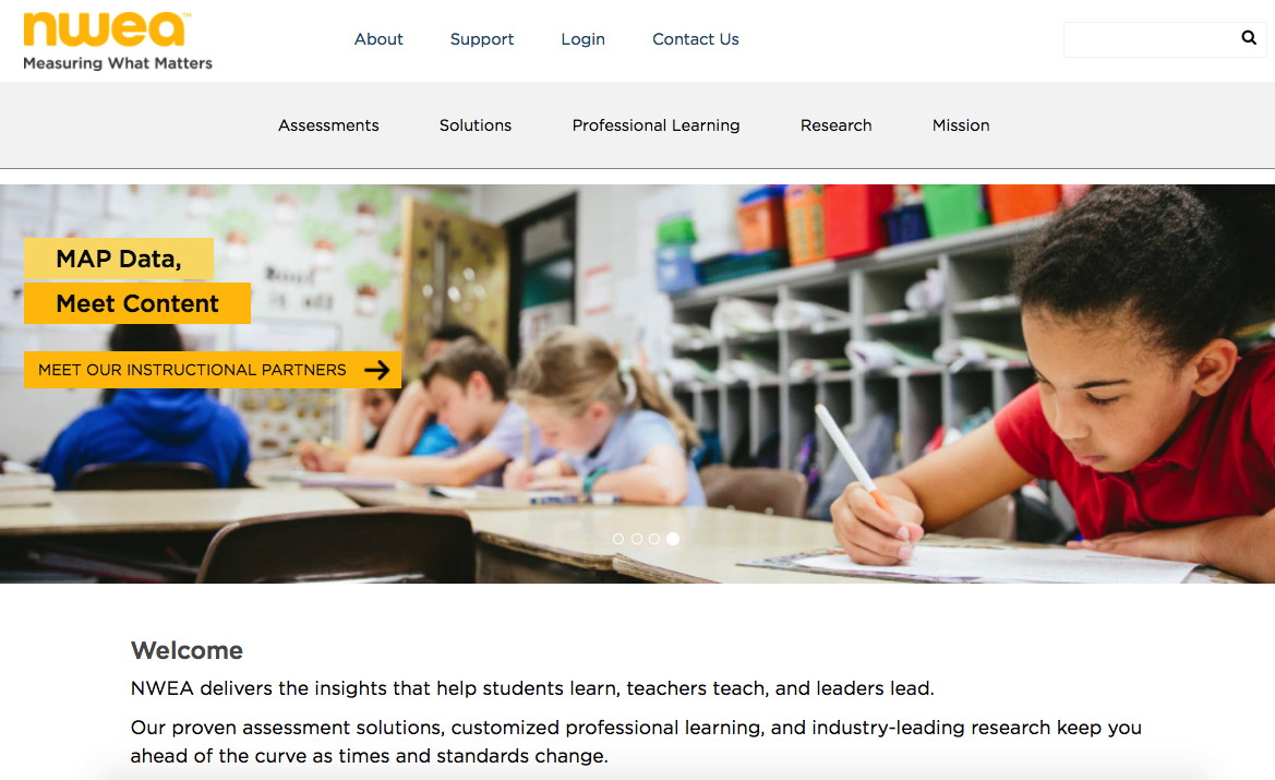 NWEA home page after redesign, rebranding