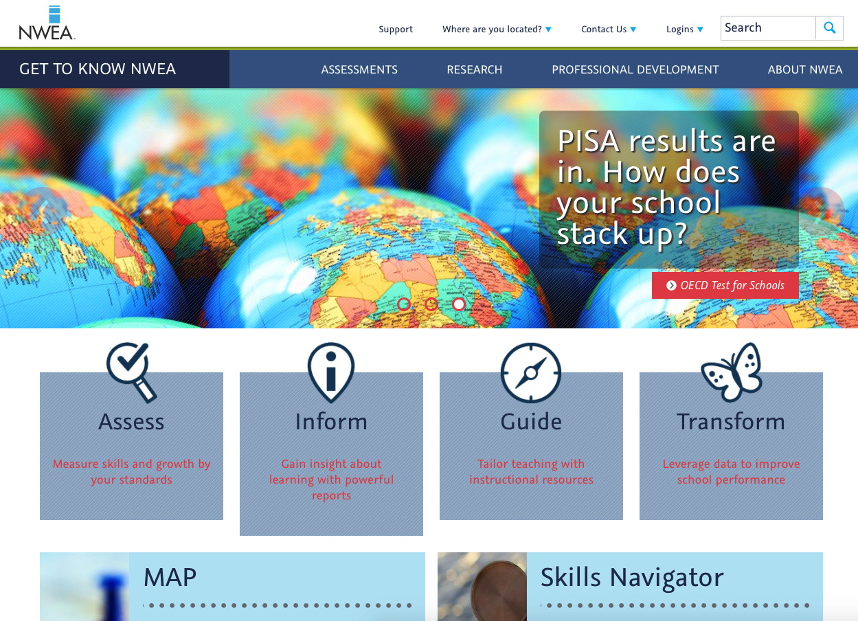 NWEA home page prior to redesign, rebranding