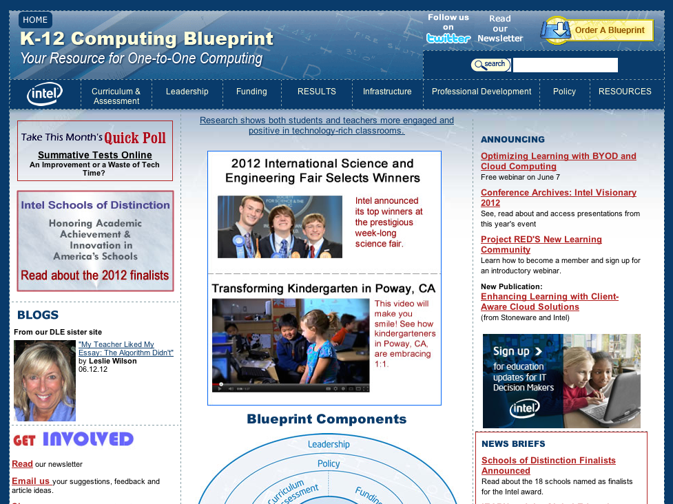 Previous website design of the K12 Blueprint