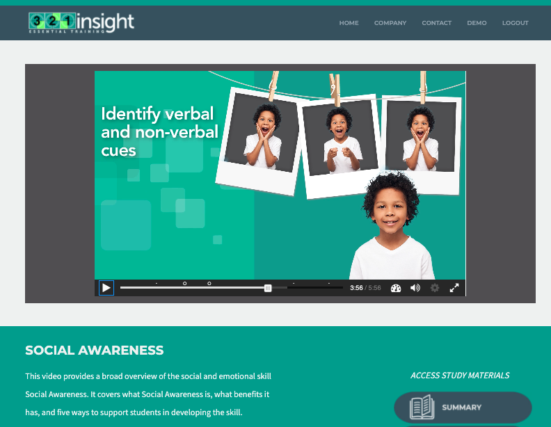 social and emotional training video screenshot by 321insight